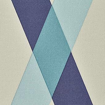 Diamond Geometric Check Wallpaper Blue Grey Stripe Textured Vinyl Paste Wall