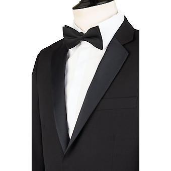 Dobell Mens schwarz 2 Stück Smoking Skinny Fit Kerbe Revers Abend Abendessen Anzug