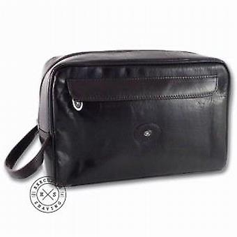 Hans Kniebes Large German Leather Wash Bag in Dark Brown