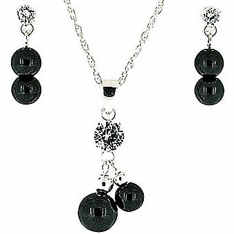 925 Silver Double Black Crystal & Hematite Ball Pendant & Earring Gift Set