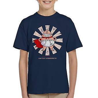 La camiseta de niño retro japonesa del capitán Underpants
