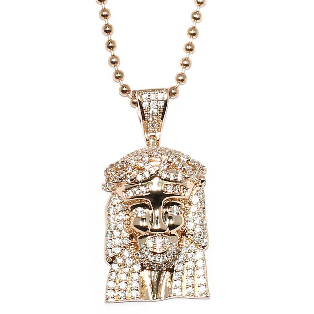 Rose Gold Plated CZ Mini Jesus Piece Pendant with 30 inch ball chain