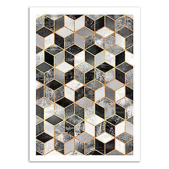 Art-Poster-zwart-wit blokjes-Elisabeth Fredriksson 50 x 70 cm