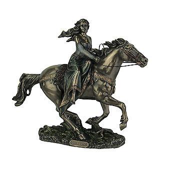 Celtic Moon Goddess Rhiannon On Horseback Bronze Finish Statue