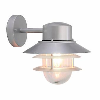 1 Light Outdoor Wall Lantern Light Silver Ip44