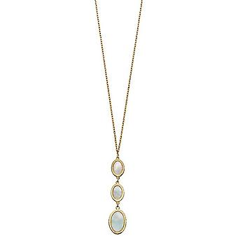 Elements Gold Oval Mother Of Pearl Drop Necklace - Gold/Cream