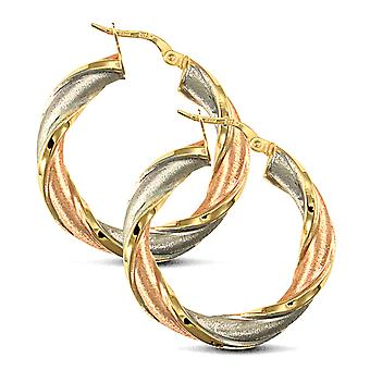 Jewelco London Ladies 9ct Yellow White and Rose Gold Frosted Twisted 5mm Hoop Earrings 30mm