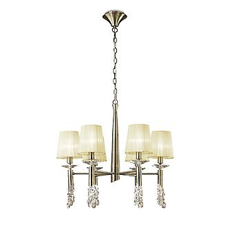 Mantra M3871 Tiffany Pendant 6+6 Light E14+G9, Antique Brass With Cream Shades & Clear Crystal
