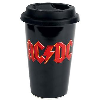 AC/DC Logo Travel Mug black, printed, capacity approx. 300 ml.