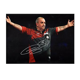 Phil Taylor Signed Darts Photo: The Power