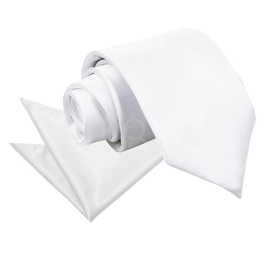 Plain White Satin Tie 2 pc. Set