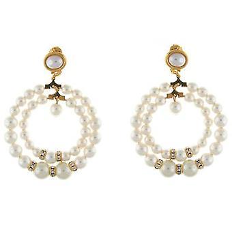 Kenneth Jay Lane Double Pearl & Crystal Hoop Clip On Earrings