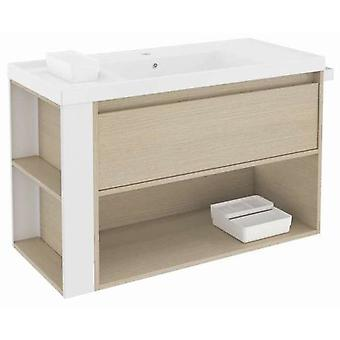 Bath+ 1 Drawer Cabinet + Shelf With Resin Basin 100cm Oak-White