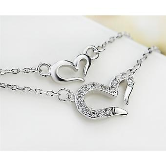 Affici 18ct White Gold Plated Sterling Silver Necklace ~ Twin Chains with Hearts