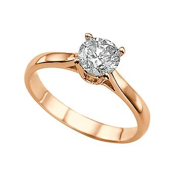 1 Carat G SI2 Diamond Engagement Ring 14K Rose Gold Solitaire Classic Cathedral