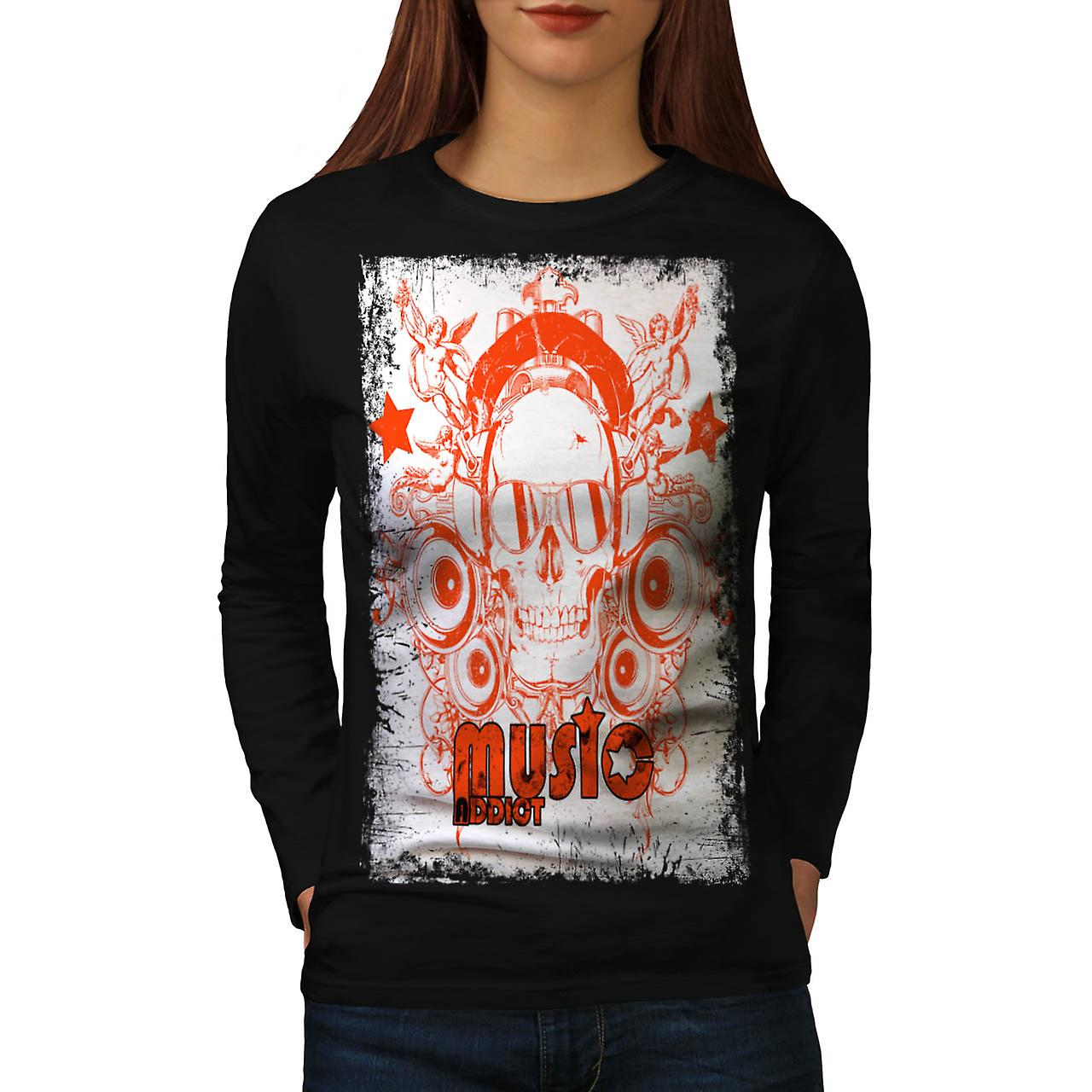 DJ Music Addict Beats Rave Skull Women Black Long Sleeve T-shirt | Wellcoda