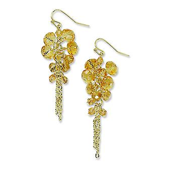 Gold-tone Yellow Crystal Beaded Cluster Drop Earrings
