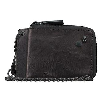 Replay card case wallet pouch with pendant leather black 4571