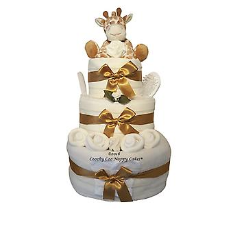 Unisex Giraffe Baby Nappy Cake Gift (three Tier)