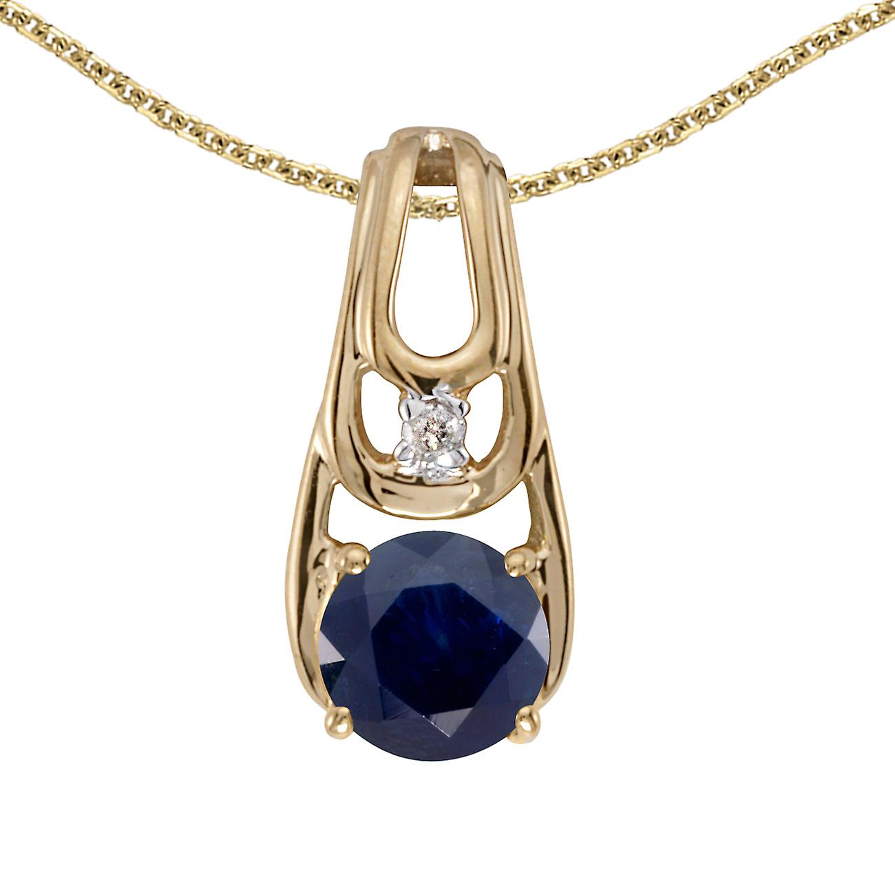 14k Yellow Gold Round Sapphire And Diamond Pendant with 18