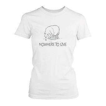 Nowhere To Live Polar Bear Women's Shirt Earth Day Save Polar Bear Campaign
