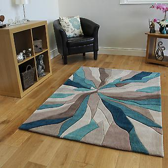 Teal & Beige Abstract Pattern Modern Area Rug Large