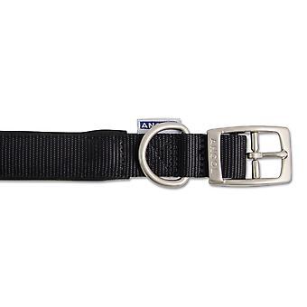 Heritage Nylon Padded Collar Black 25mm X45-54cm Sz 6