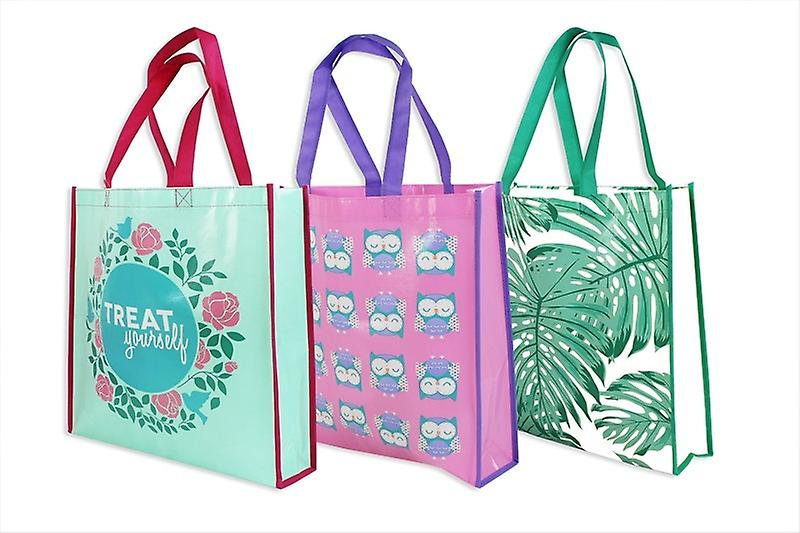 Shopping Bag Reusable Handle Strong Trendy Pack of 3 Colourful