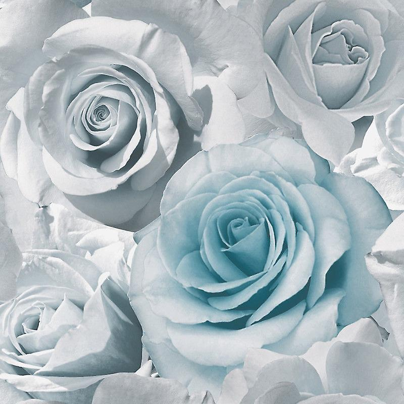 Muriva Madison Floral Flower Rose Bloom Blue Silver Grey Feature Wallpaper