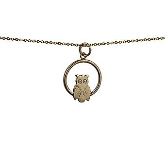 9ct Gold 18x19mm Owl in a circle Pendant with a cable Chain 16 inches Only Suitable for Children