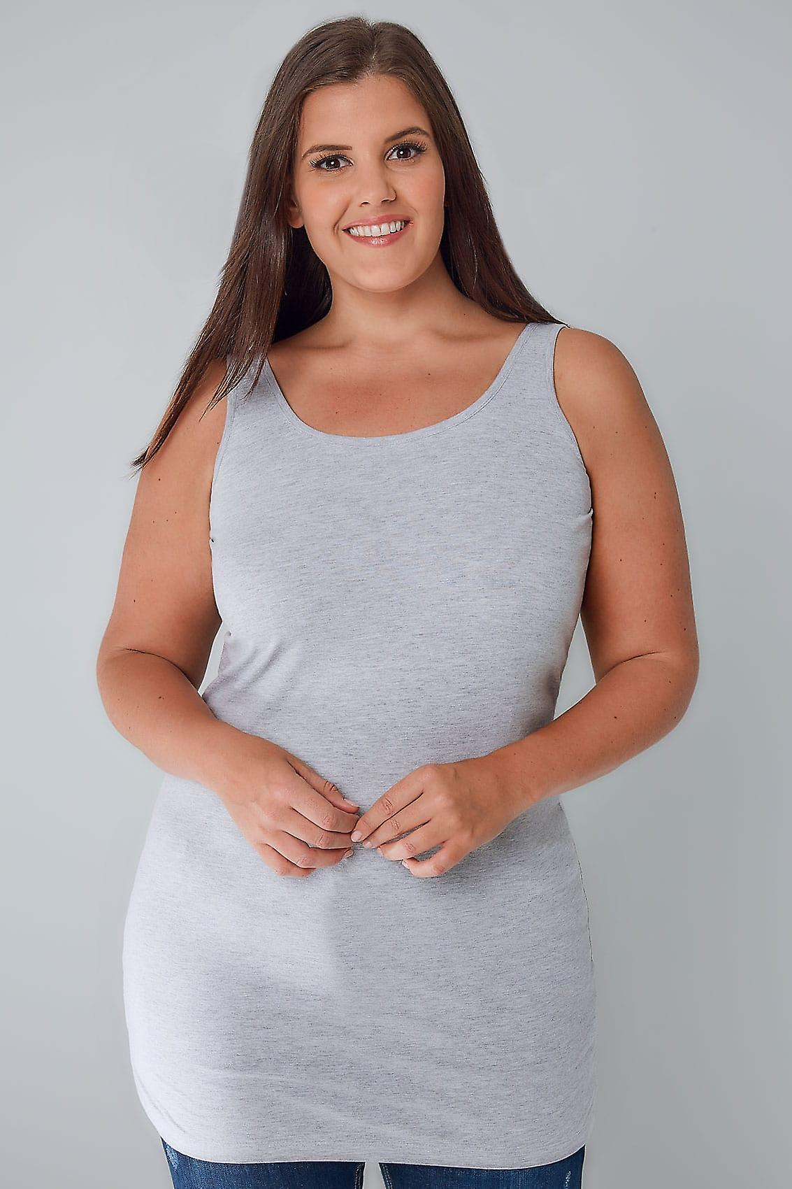 Grey Marl Longline Vest Top