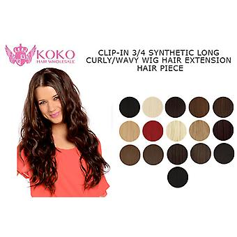 26'' Clip-In 3/4 Synthetic Long Curly/Wavy Hair Extension Piece