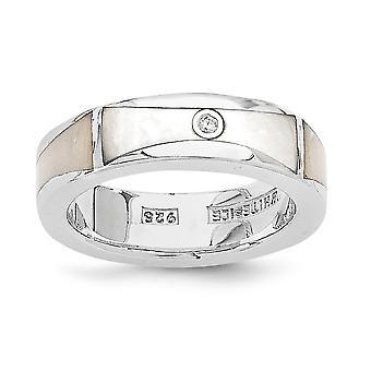 Polierte Geschenk Box rhodiniert weiße Eis .01ct Diamant und simulierten Mutter der Perle Ring - Ring-Größe: 6 bis 7