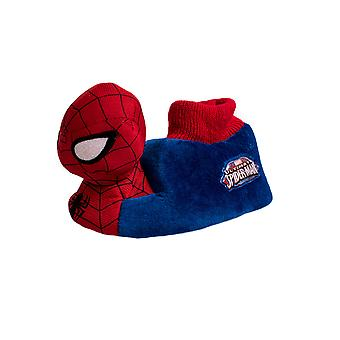 Marvel Spiderman Red & Blue Childrens 3D Plush Boys Slippers