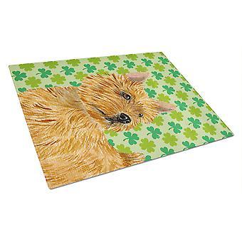 Norwich Terrier St. Patrick's Day Shamrock Portrait Glass Cutting Board Large