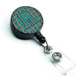 Letter R Football Aqua, Orange and Marine Blue Retractable Badge Reel