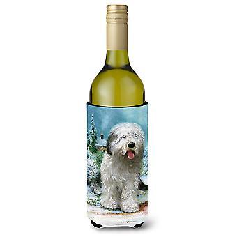 Old English Sheepdog von Don Squires Weinflasche Getränk Isolator Hugger