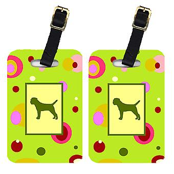 Carolines Treasures  CK1015BT Pair of 2 Border Terrier Luggage Tags