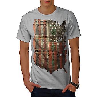 Benjamin Dollar Flagge USA Männer graut-Hemd   Wellcoda