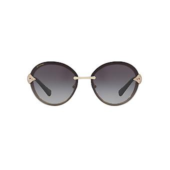 Bvlgari Diamante Fan Hinge Rimless Round Sunglasses In Black Gold