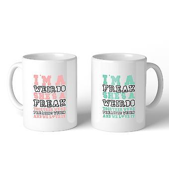 Weirdo Freak BFF matchande gåva kaffe muggar 11 Oz för bästa vänner
