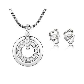 Womens Clear Crystal Anhänger Halskette mit passenden Liebe Herz Ohrringe Set