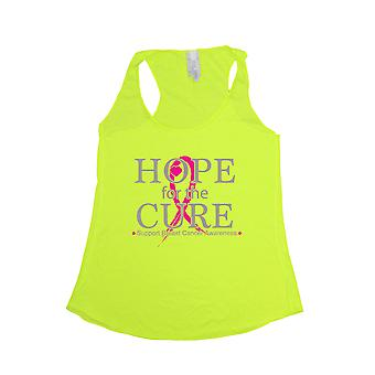 Women's Hope for the Cure Breast Cancer Awareness Tri Blend Tank NEON YELLOW