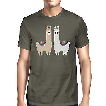 Llama Pattern Mens Cool Grey Short Sleeve Tee X-Mas Present