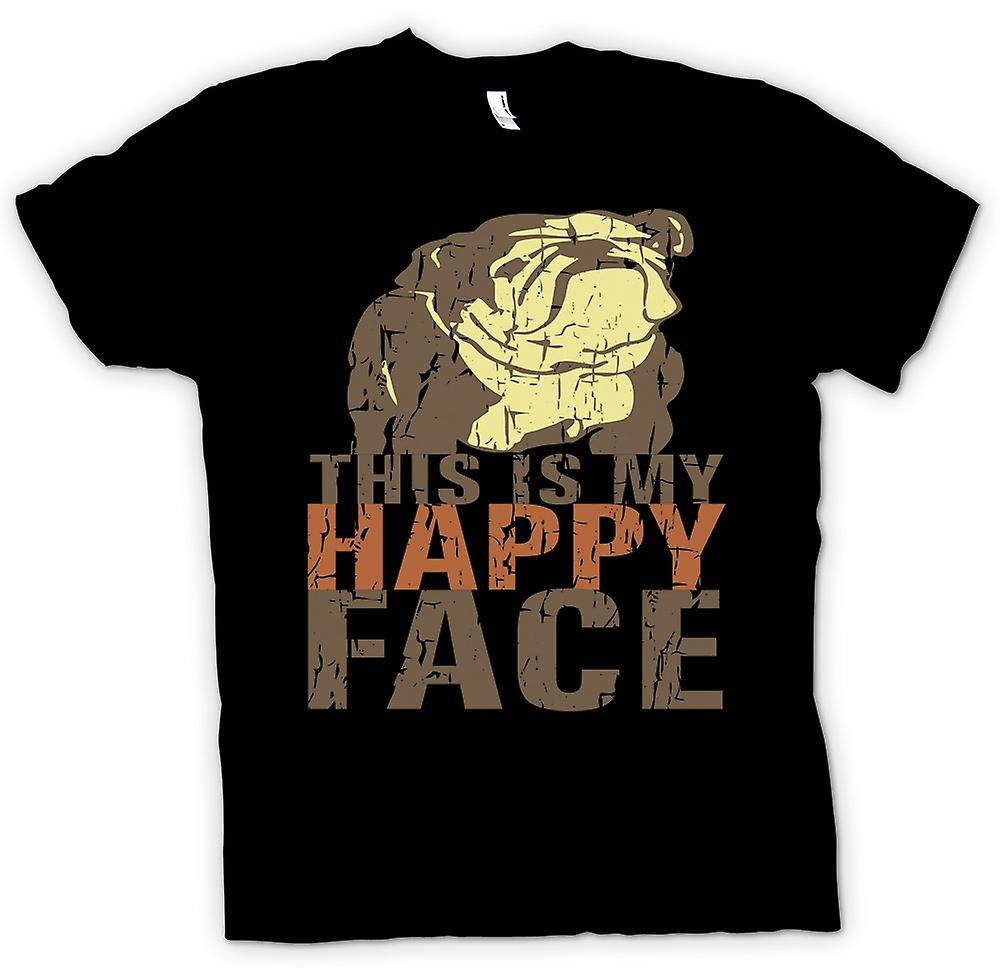Heren T-shirt - Bulldog - dit Is mijn Happy Face
