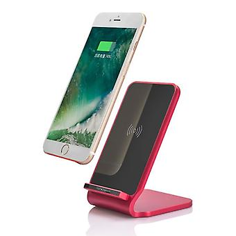 Nightstand inductive quick charger charger Qi NFC wireless charger dock 10W Red