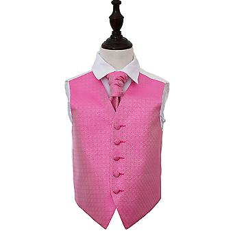 Fuchsia Pink Greek Key Wedding Waistcoat & Cravat Set for Boys