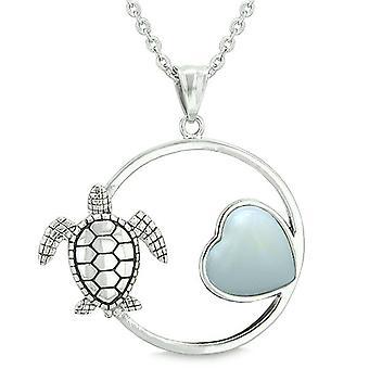 Amulet Cute Sea Turtle Magic Circle Heart Medallion Positive Powers Opalite Pendant Necklace