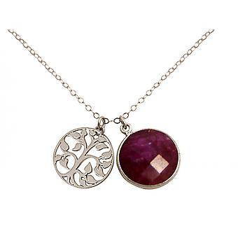 Gemshine - ladies - - pendant - tree of life necklace - 925 Silver - Ruby - Red - 45 cm