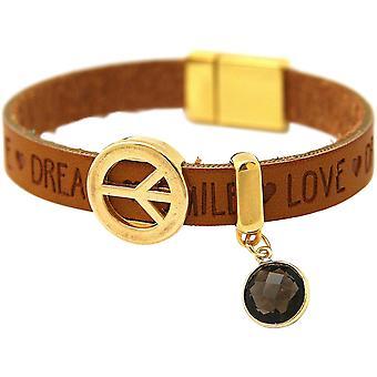 Gemshine - ladies - bracelet - harmony - peace - WISHES - smoky quartz - Brown sand - magnetic closure